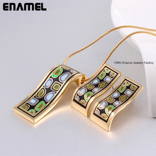 New arrival!Stainless steel Luxury Muslim Vintage 18K Gold-Plated Enamel Jewelry Set collares mujer cheap fashion jewelry sets(China (Mainland))