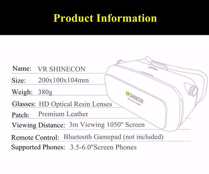 ถูก 2016 VR Shineconความจริงเสมือนแว่นตา3D O Culus riftกระดาษแข็งg oogleสำหรับ3.5-6.0นิ้วโทรศัพท์+บลูทูธระยะไกลGamepad