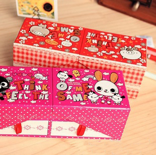 Cute stationery box double paper stationery box double layer with drawer mirror pencil box