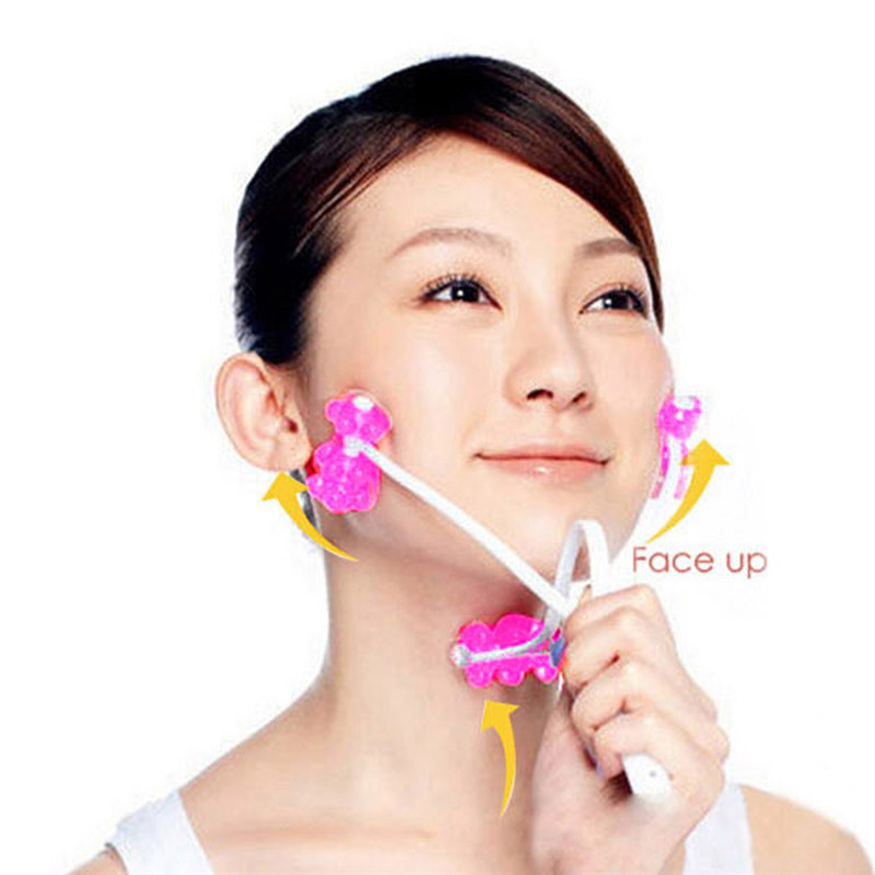High Quality Face Up Roller Massage Relaxation Slimming Remove Chin Neck Massager Beauty 2 in 1 Tools(China (Mainland))