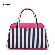 SWDF-2016 New Korean Style Women's Totes Bags High Quality Canvas Hit Color Ladies Handbags Famous Brand Designer Bag For Girls