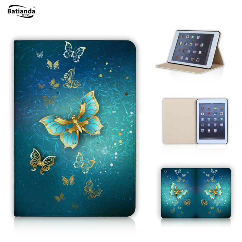 Luxurry butterfly gold Magnetic Slip Leather Case for ipad mini 1 2 3 ipad mini retina Cover Abstract dragonfly(China (Mainland))