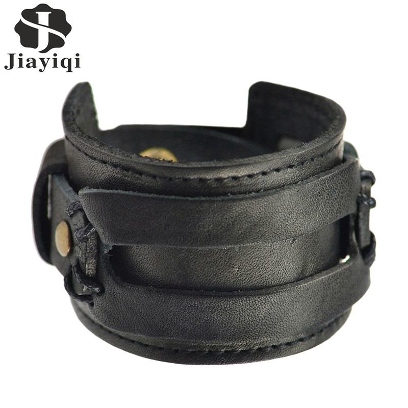 Hot Sale Fashion Black Brown Handmade Punk Wide Cuff Leather Bracelets for Men Jewelry 2015 Accessory(China (Mainland))