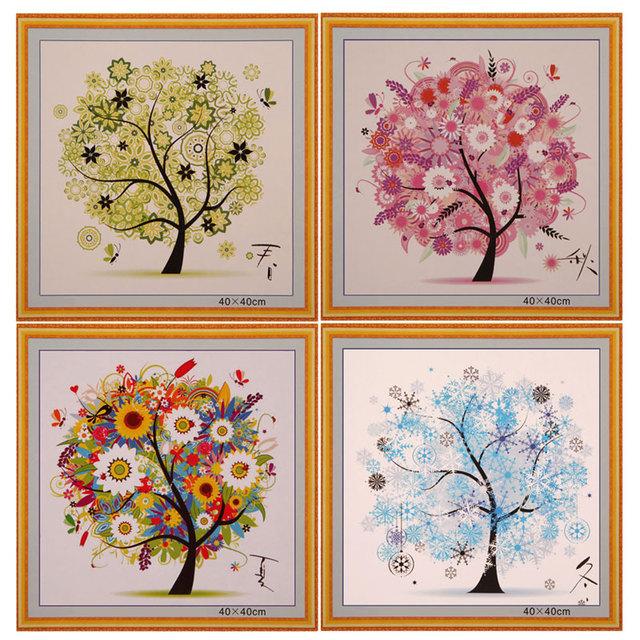DIY Home Decor Китайский Вышивки Крестом Four Seasons Tree Вышивка Счетный Китайский Вышивки Крестом Комплект