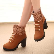 Nuevo 2016 moda mujer warm botines del cordón de las mujeres botas de nieve y botas de otoño invierno de las mujeres zapatos(China (Mainland))