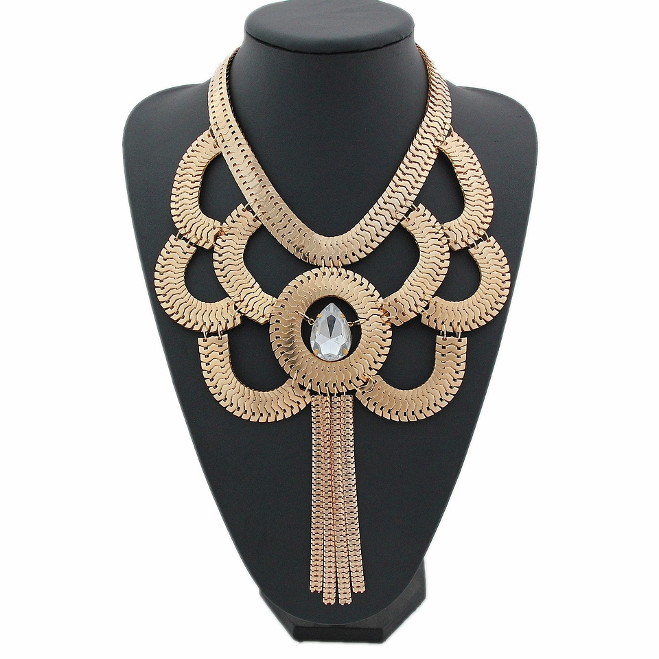 Fashion Hand Made Gothic Gold Plated Snake Chain Choker Statement Crystal Pendant Tassels Bijoux Necklace Jewelry,D91(China (Mainland))