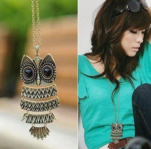 Free shipping bronze Classic vintage Animal Pendant owl  Necklaces wholesale statement  jewelry  for women 2014 PT33