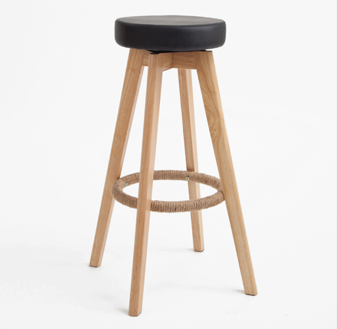 Wooden Swivel Bar Stools Modern Natural Finish Round