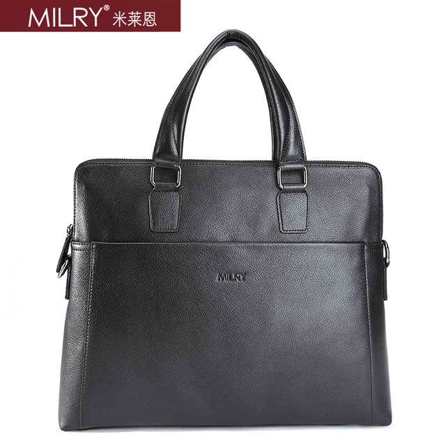Free shipping Brand MILRY 100% Genuine Leather Briefcase for men shoulder messenger Bag for laptop cowhide handbag CP0019-1