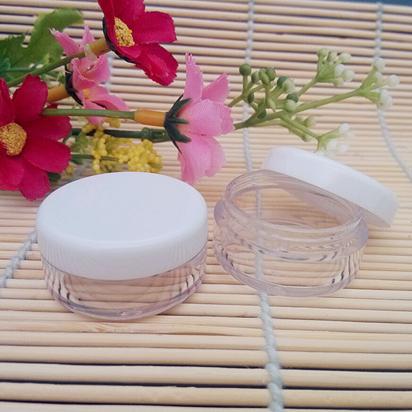 100PCS/LOT-5G High Quality 5g Plastic Cream Jar,Cosmetic Packaging,Sample Cream Pot, Display Container with White Lids(China (Mainland))
