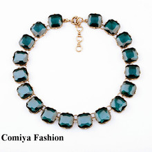 Comiya 2015 crystal square pendant vintage geometry shorts women design collares necklace Fashion accessories brand items bijoux(China (Mainland))
