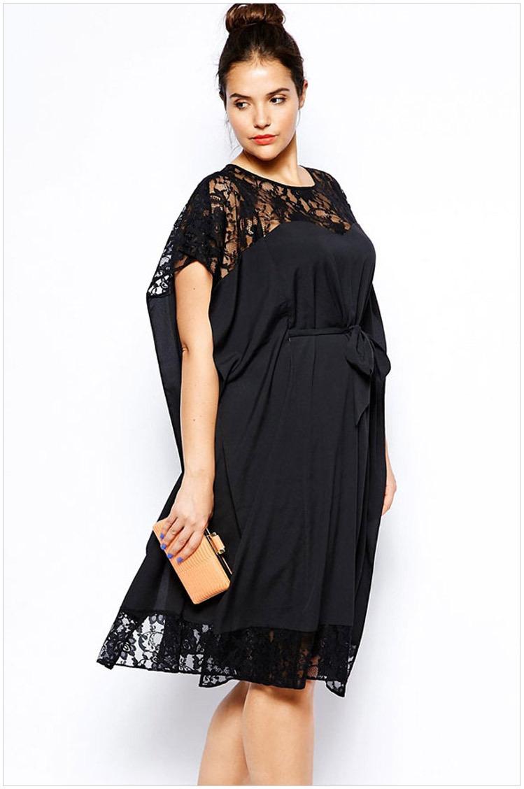 2015 Spring new black Bow Lace Dresses Plus Size Women ...