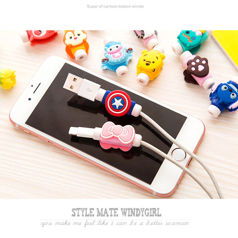 10PCS Fashion Cute Cartoon USB Cable Protector Cover Case For Apple Iphone android Charger Data Cable