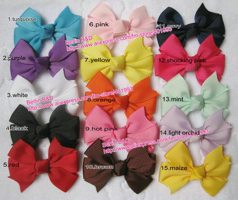 7/8'' grosgrain hair bow clips 3''x3'' mixed 15 colors christmas bows toddler hair accessories hair clip ponytail clip baby bows(China (Mainland))