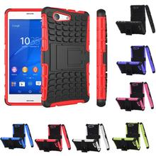Z3 Mini Heavy Duty Impact Hybrid Armor Kick-stand Hard Case 4.6 inch Sony Xperia Compact M55W Defender Mobile Phone Cover - OHMG store