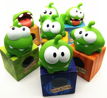 7pcs Rope frog vinyl Rubber android games doll Cut the Rope OM NOM Candy Gulping Monster Toy Figure Phone Game rattle(China (Mainland))