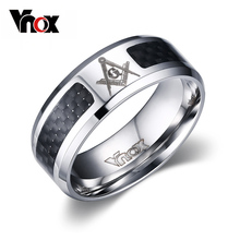 Buy Vnox Black Men Ring Stainless Steel Masonic Jewelry Wholesale Punk Wedding Ring for $2.99 in AliExpress store