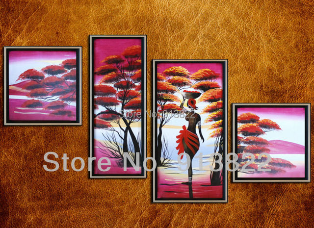 Free Shipping Oil Paintings Handmade Modern Africa Landscape Art Home improvement