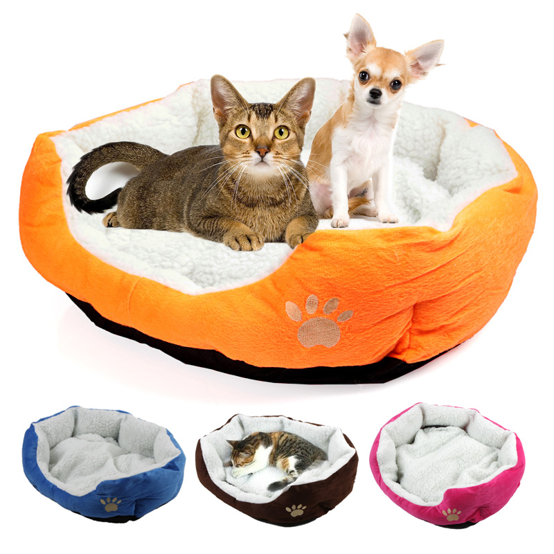 Cute Paw Print Cats Puppy Beds Comfortable Pets Dog Kitten Beddings House Nest Pad Soft Fleece Bed Home&Garden Products(China (Mainland))
