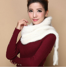 Hot 2015 new Women mink fur shawls scarves winter fashion warm arrival hot long scarf high end multi fuctional fur accessories(China (Mainland))