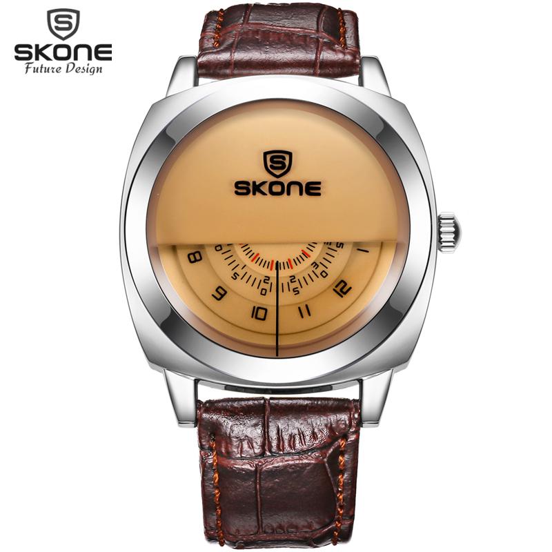 Unique Vogue Designer SKONE Brand Watches Men Luxury Fashion Casual Leather Strap Watch Quartz Wrtistwatch Relogios masculinos(Hong Kong)