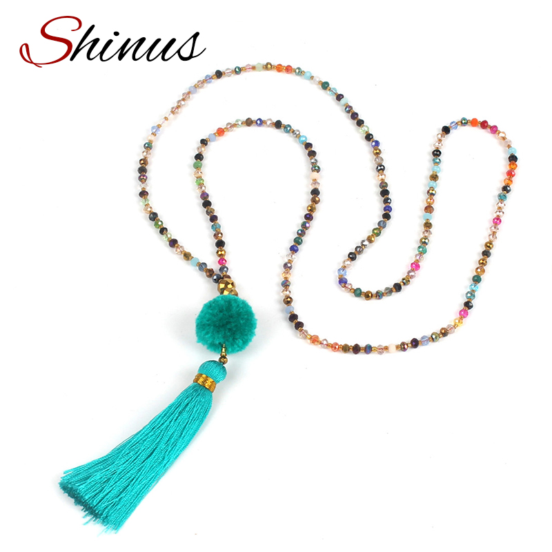 Shinus Necklace Statement Maxi Collier Women Long Pendant Necklace Jewelry Tassel Bijoux Vintage Crystal Indian Ethnic HN1704(China (Mainland))