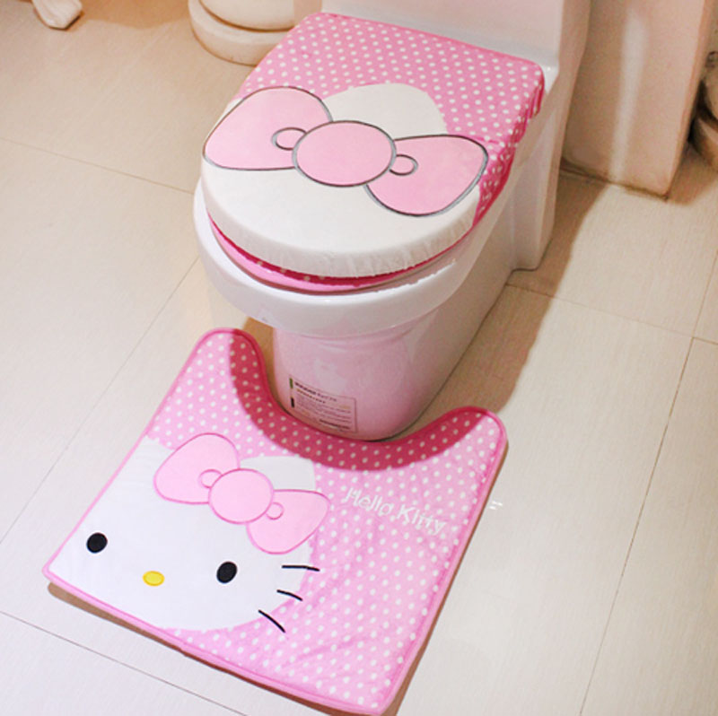 Bathroom Accessories Set Hello Kitty Cute Toilet Seat Cover Slip Resistant Bath Mat Three Piece