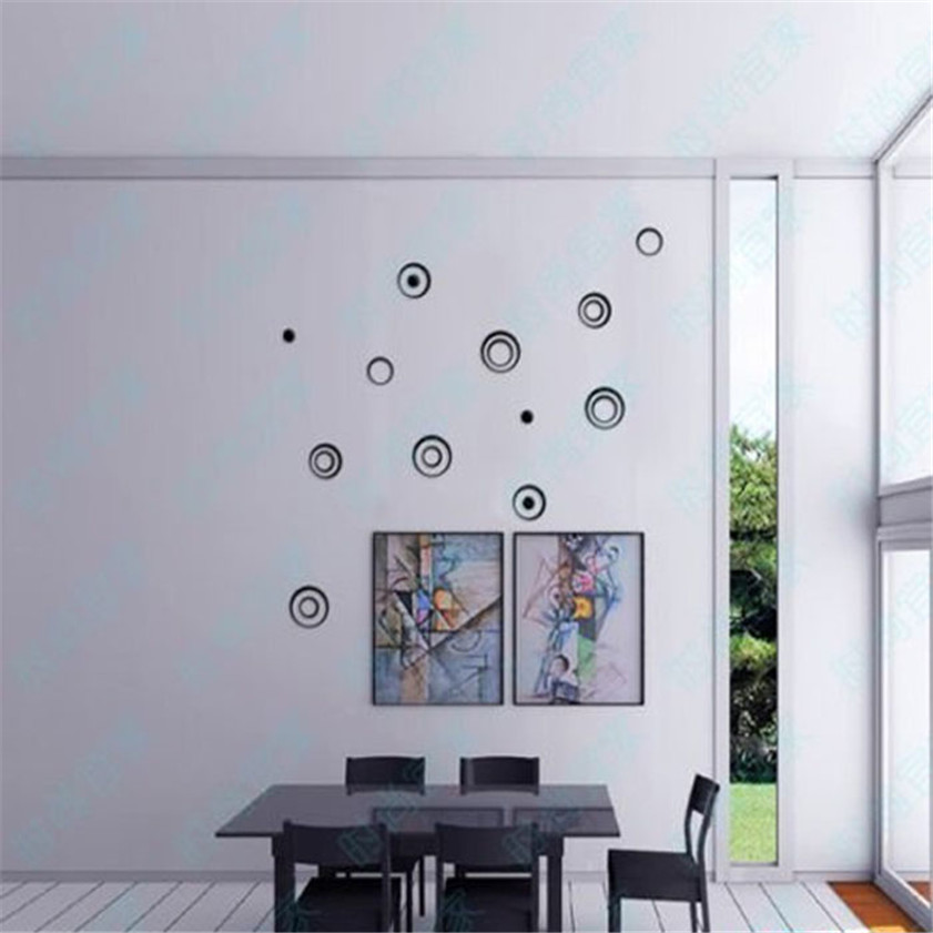 High Quality Fashion Wall Stickers 1 Set Indoors Decoration Circles Creative Stereo Removable 3D DIY Wall Stickers 12.9(China (Mainland))