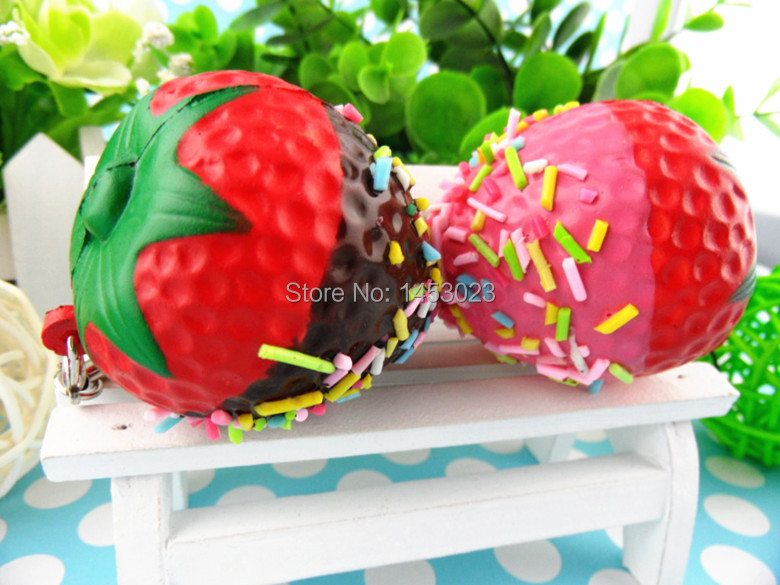 new arrival rare Strawberry squishy fashion pu mobile phone bag straps charm squishies 4cm 20pcs/lot wholesale free shipping