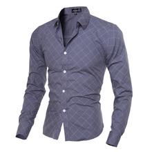 2016 Fashion New Summer Simple Designer Men Plaid Slim Long Sleeve Shirts Casual Social Shirt Camisa Masculina 13M0542 - ESAMENG Store store