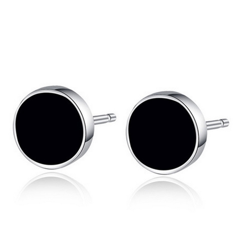 New 2015 Quality 925 Sterling Silver Stud Earrings For Women And Men Fashion Jewelry Round Silver With Black Acrylic 6.8 mm(China (Mainland))