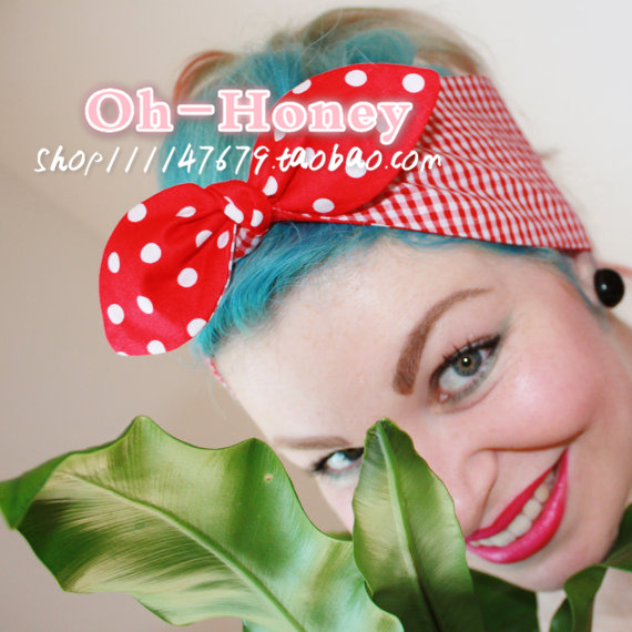 1950s women vintage rockabilly pinup red polka dot gingham headband hairband hair scarf wrap bands accessories bandana bandeau(China (Mainland))