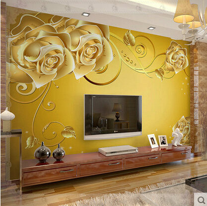 Self adhesive wall mural living room wallpaper 3d tv for Yellow living room wallpaper