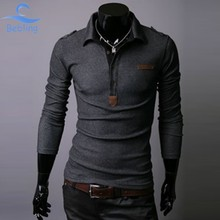 Free Shipping Men's Turn-down Collar Cotton Blends Long Sleeve Pullover Polo Shirts 16-041