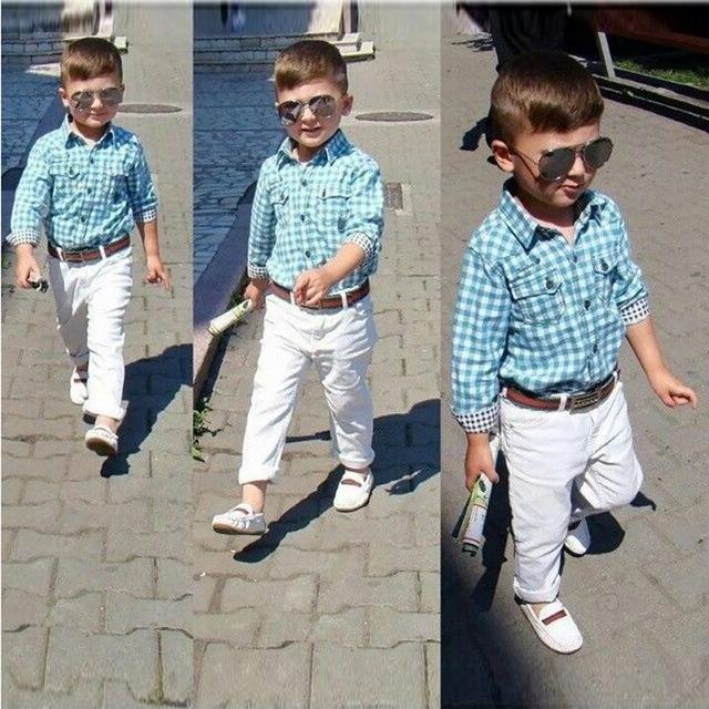 Мальчики одежда с рукавами клетчатую рубашку белые брюки 3 шт. ребенка с длинным рукавом футболка + брюки + комплект дети свободного покроя одежда наряды