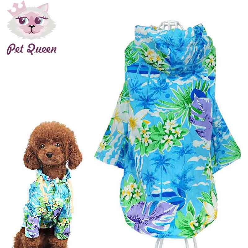 Printed Summer small Dog cat pet beach T shirt vest Clothes jacket coat Hawaii style dog puppy hoodie Sportswear soccer jersey(China (Mainland))