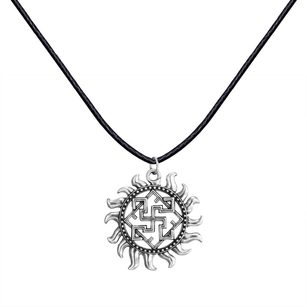 Unique Antique Silver Punk Slavic Valkyrie Symbol Viking Scandinavian Amulet Fire Pendant Necklace Christmas Gift for Men Women