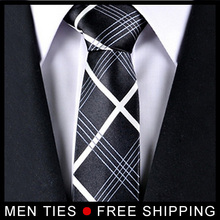 Black Chequers Men's silk Neckties Korean ties for men Casual Business gits Retail Free shipping
