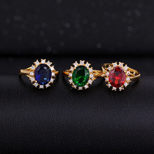Wedding anillos aneis rings synthetic sapphire and ruby anel de ouro bijoux fine feminino jewelry ring