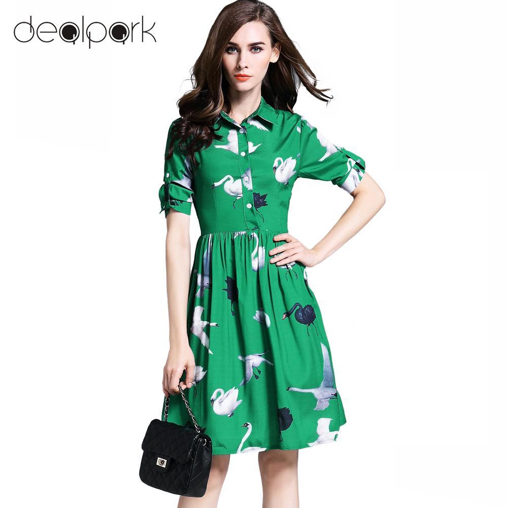 2016 Fashion Women Swan Print Dress Turn-Down Collar Button Folded Half Sleeve Slim Shirt Dress Green Vestidos De Festa(China (Mainland))