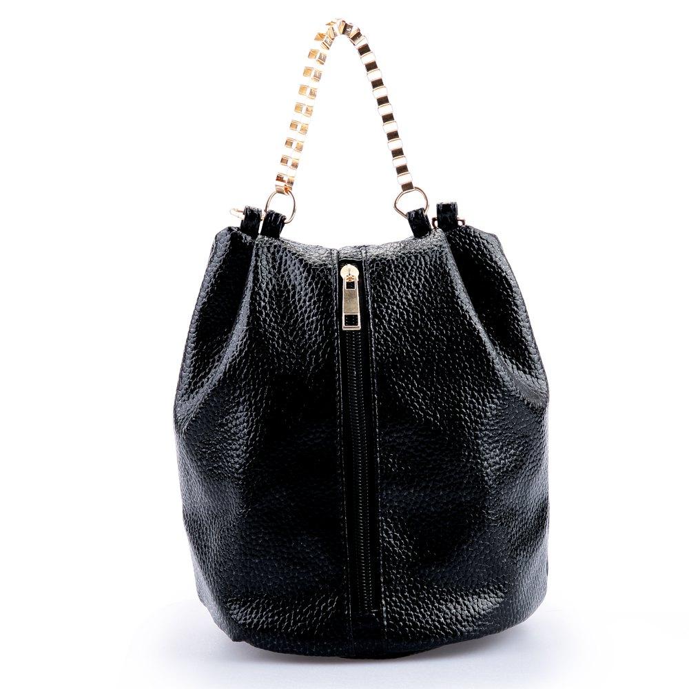 2016 Women Fashion Bucket Bag Design Ladies Retro Chain Shoulder Bags Tide Retro Messenger Bag Black Silver Shoulder Bag(China (Mainland))