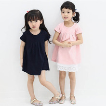 New Style Children Kids Girls Short Sleeve  One Piece Dress Casual Solid Color Dress Hot