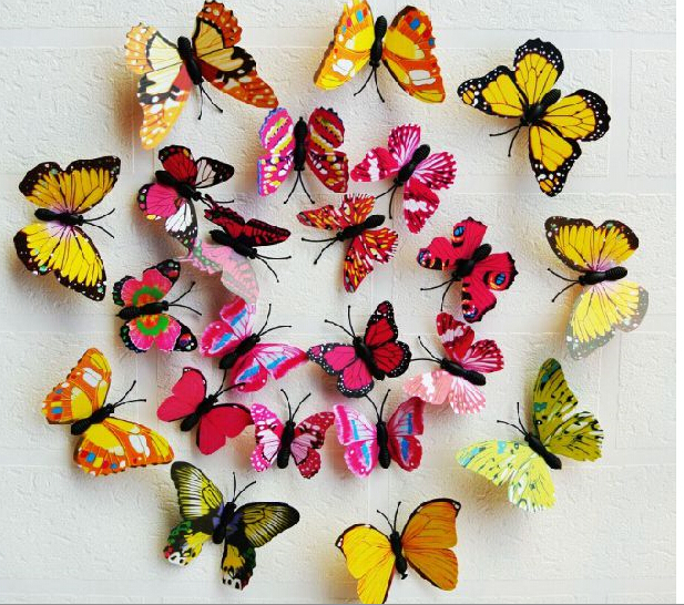 12pcs/set 3D wall stickers butterfly fridge magnet wedding photography props home decoration Art Design Decal Wall - Love Star store