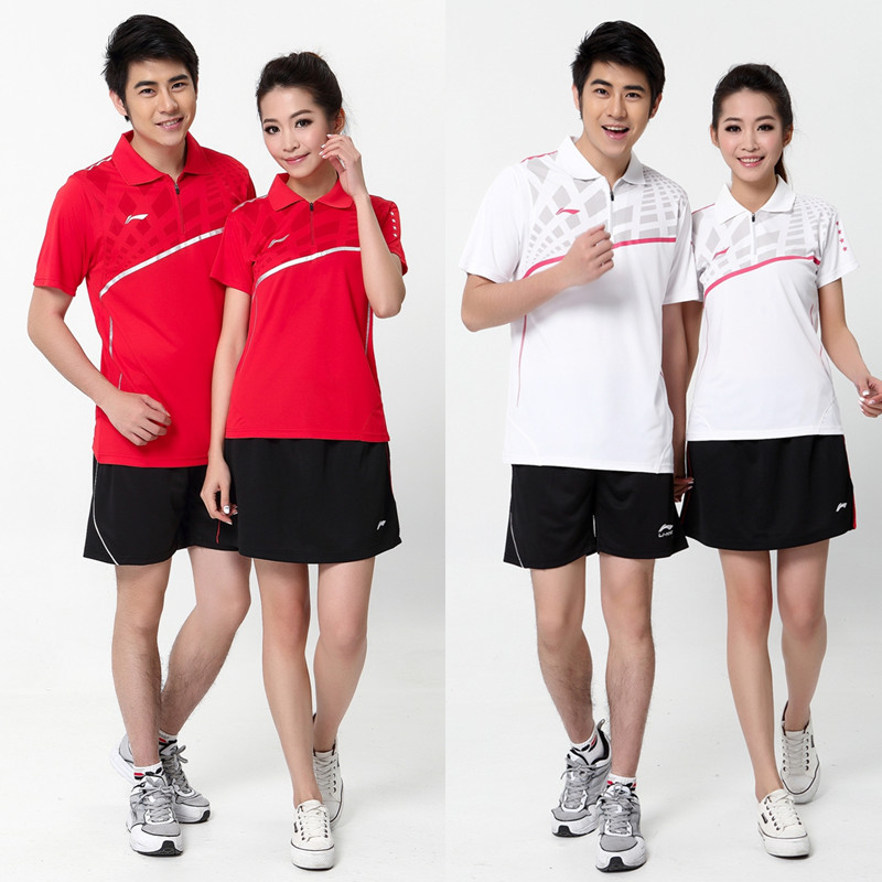 2015 NEW LINING badminton shirt, Men's and Women's badminton sport suit, polyester badminton clothes, 2 Colors(China (Mainland))