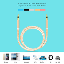 Buy 3.5 mm Jack Aux audio cable Nylon Braided male male 1M audio stereo cable cord Samsung mp3 iPhone for $1.03 in AliExpress store