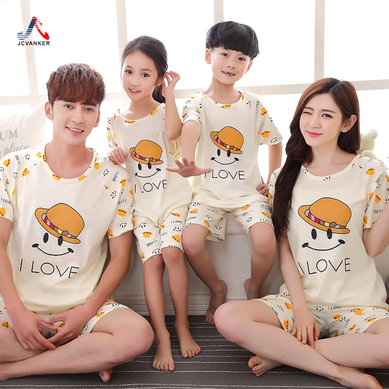 JCVANKER 2016 Summer Cotton Pajama Sets For Family Fitted Smile Letters Short Sleeve Homewear Pyjama Femme Suit Pijama Costumes(China (Mainland))