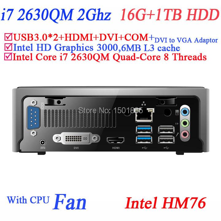 New product mini pc thin client with Intel Quad Core i7 2630QM 2.0Ghz 8 threads mini ubuntu computer 16G RAM 1TB HDD(China (Mainland))