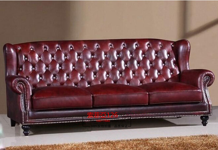 Neoclassical sofa living room sofa high back leather sofa three soft bag sofa can be customized to pull buckle(China (Mainland))