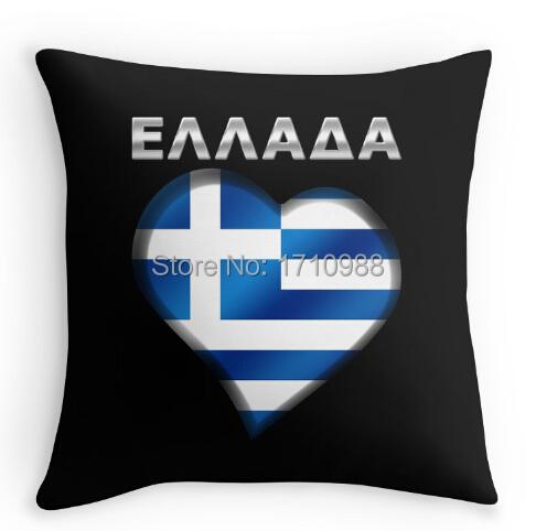 ELLADA - Greek Flag Heart & Text - Metallic Custom Throw Pillowcase (two sides) for 12x12 14x14 16x16 18x18 20x20 24x24 inch(China (Mainland))