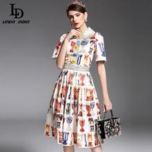 Newest 2017 Summer Fashion Designer Runway Dress Women's Half Sleeve Crystal Button Beading wine glass Printing Dress(China (Mainland))